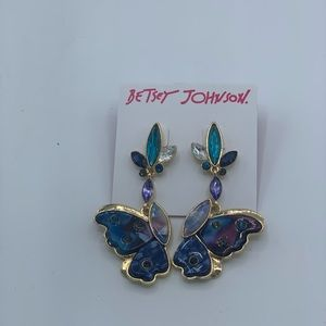 Betsey Johnson large butterfly Stud Drop Earrings